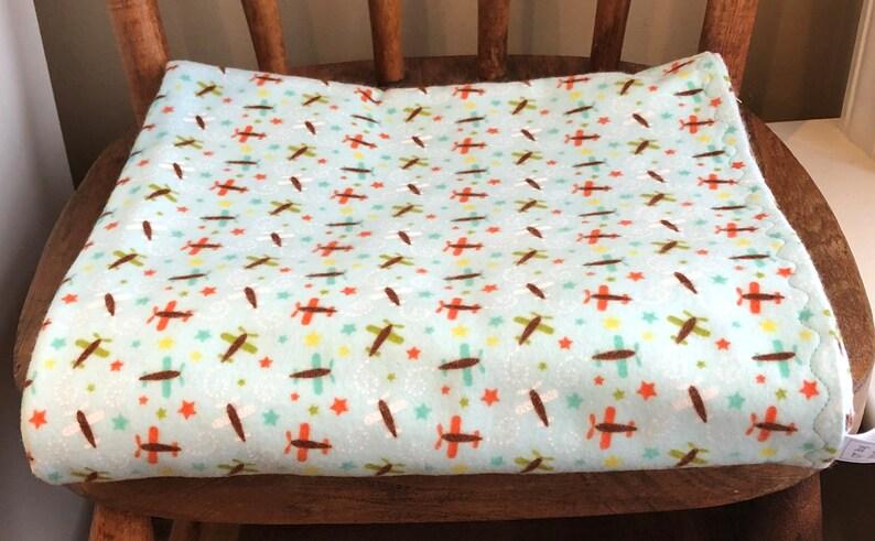 Airplane Modern Oh Boy Baby Flannel Blanket Handmade