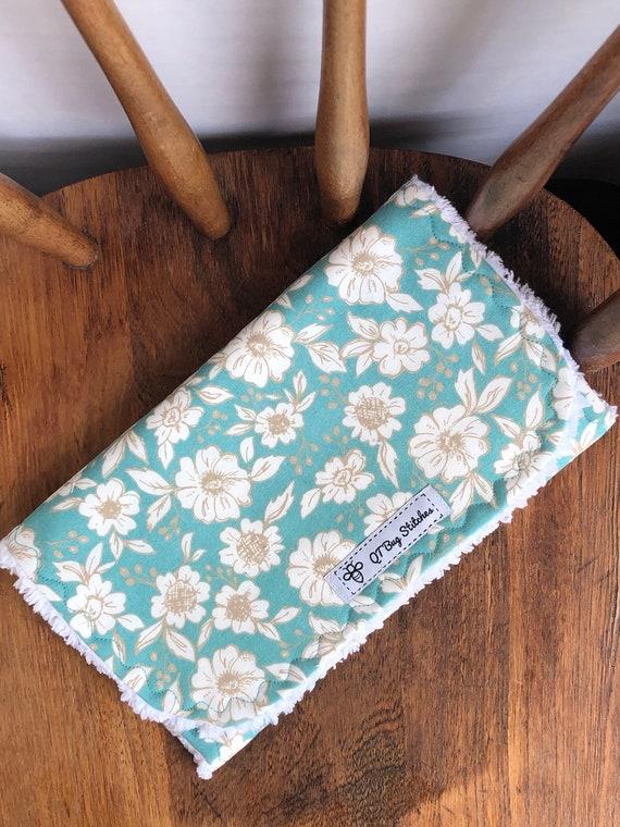 Bloomington Floral Cotton Chenille Burp  Cloth Set Handmade