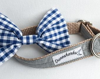 Grey Collar Set // Dog Collar Bow Tie