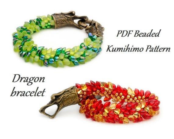 Pdf Beaded Kumihimo Pattern Dragon Kumihimo Bracelet Etsy