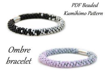 PDF Beaded Kumihimo Pattern - Ombre Kumihimo bracelet