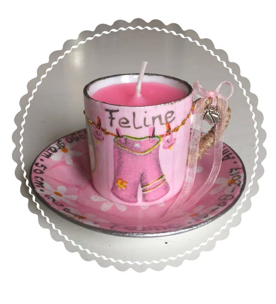 Baby Born Strandstoel.Birth Candle In Decorated Cup And Saucer Made To Order