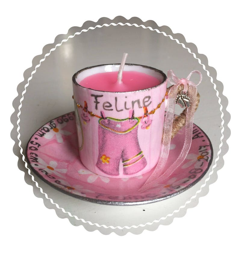 Strandstoel Baby Born.Birth Candle In Decorated Cup And Saucer Made To Order