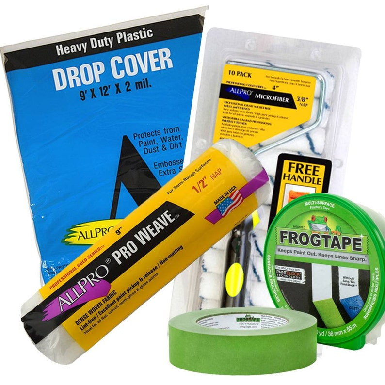 Paint Supplies~ Frog Tape ~Rollers ~Paint Trays ~Drop Cloth ~Sanding Blocks