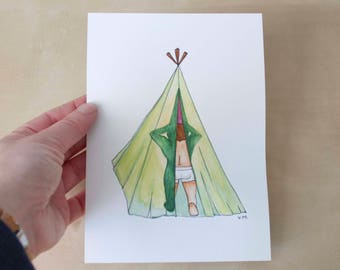 Sexy garden GNOME. Original watercolor painting. Humorous. Tent. Camping. Beautiful boy. Masher. Boxer. Nearly naked. Privacy. 5 x 7 inches.