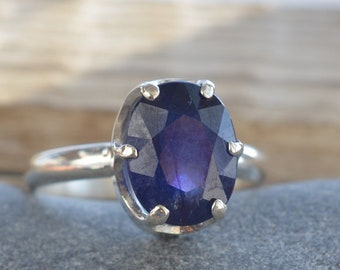 Blue Sapphire Ring. Sapphire Gemstone. Sterling silver. September Birthstone Jewelry. Present for her. Gift Idea.
