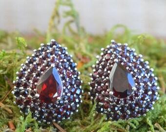 Garnet Earrings. Garnet Pyrope Gemstone and Sterling silver 925. Silver Earrings with Natural Garnets