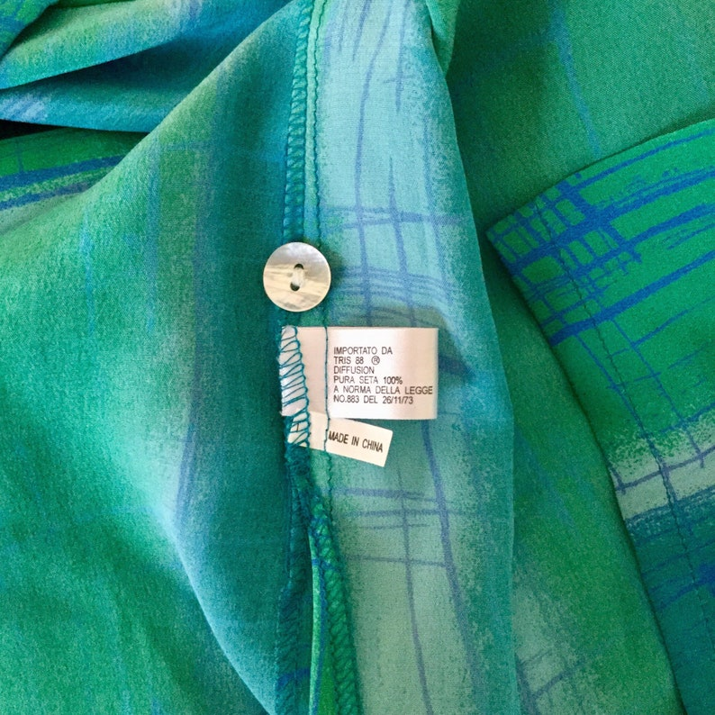 NEW 90s VINTAGE Size 18 CH\u00c9RIE Green /& Blue Silk Blouse New With Tags