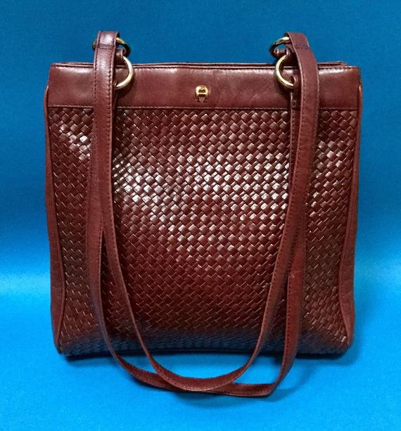 Vintage 80s ETIENNE AIGNER Oxblood Red Woven Leather Shoulder  e4d764c012788