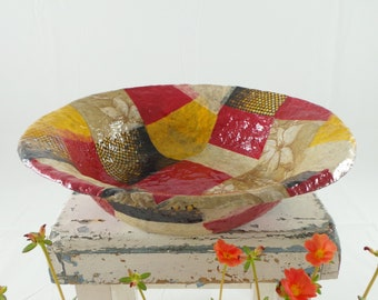Fruit Bowl, Colorful Bowl, Paper Mache Bowl, Rustic Bowl, Large Bowl, New home Gift, Wedding Gift