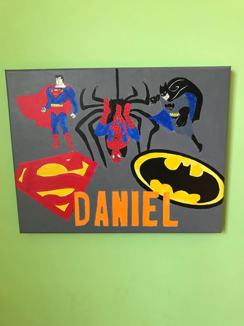 Personalized Super hero canvas - boys bedroom decor - batman superman  spiderman decor - super hero birthday party decor- 11\
