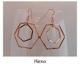 """""""Hex"""" in 14 k Gold Filled earrings"""