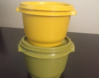 Set of 2 Vintage Tupperware Yellow and Green Small Storage Containers