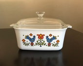 Corning Ware Country Festival Square Loaf Pan Dish 7 x 5 1 2 x 3