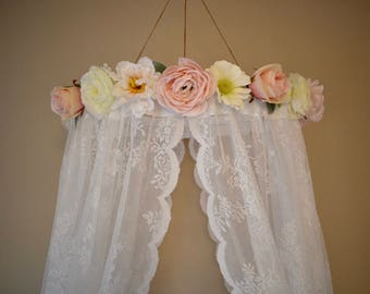 Lace Flower Canopy, Flower Canopy, Lace Canopy, Canopy, Bed Canopy