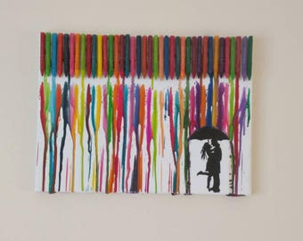 Crayon Melt Art - Couple in the rain - Wedding gift/ Anniversary gift / Engagement gift/Valentines gift