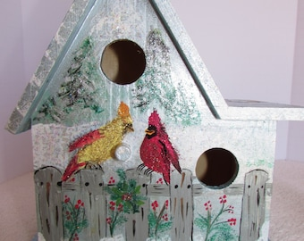 Hand Painted Holiday Bird House