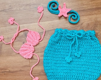 Crochet mermaid outfit, baby photo prop, summer baby, crochet mermaid, summer photography, baby mermaid, mermaid girl, mermaid photos, prop