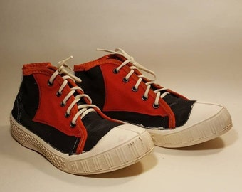 newest collection beab6 84133 New vintage 1980 s Soviet era black red sneakers
