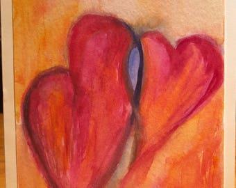 heart cards, handmade cards, original watercolor, original watercolor painting, two hearts, original watercolor, love card for her, love car
