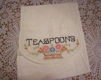 Vintage Silverware Storage Sack/Bag  - Teaspoons