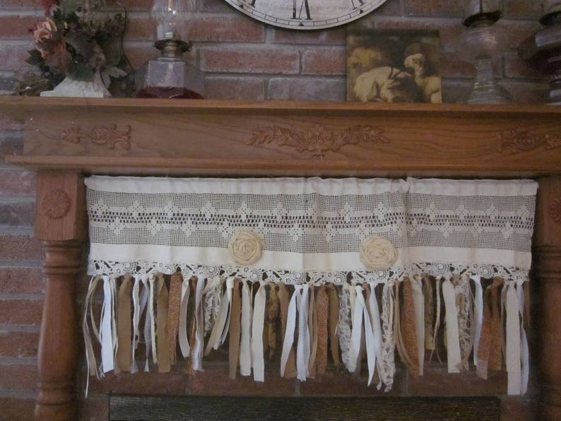 Lovely Vintage Crochet And Linen Valance Hand Tied Rolled Roses