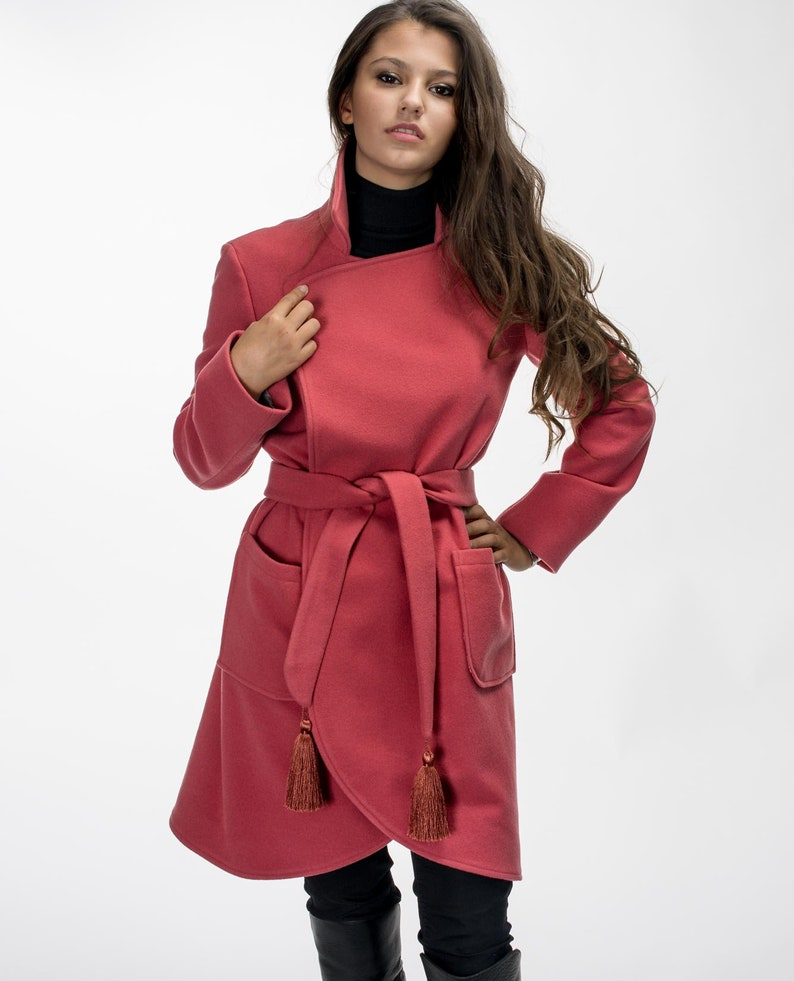 d637149d55cb4 Wool Jacket/ Wool Coat/ Hug Coat/ Coat whit tassels/ Raspberry color/  Vivastella