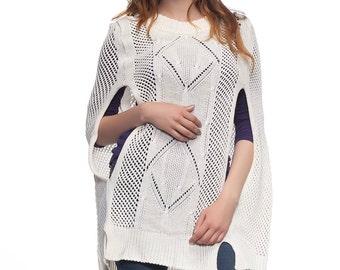 Knitted cape-color vanilla/Dark grey Cape/Elegant/Еlegant dress/Vivastella