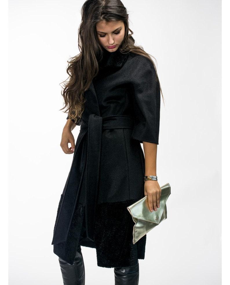 89ae1552249ee Elegant astrakhan coat/ Black business coat/ Eco-astrakhan coat/ Jacket  short sleeve/ Stylish outerwear/ Raglan sleeve