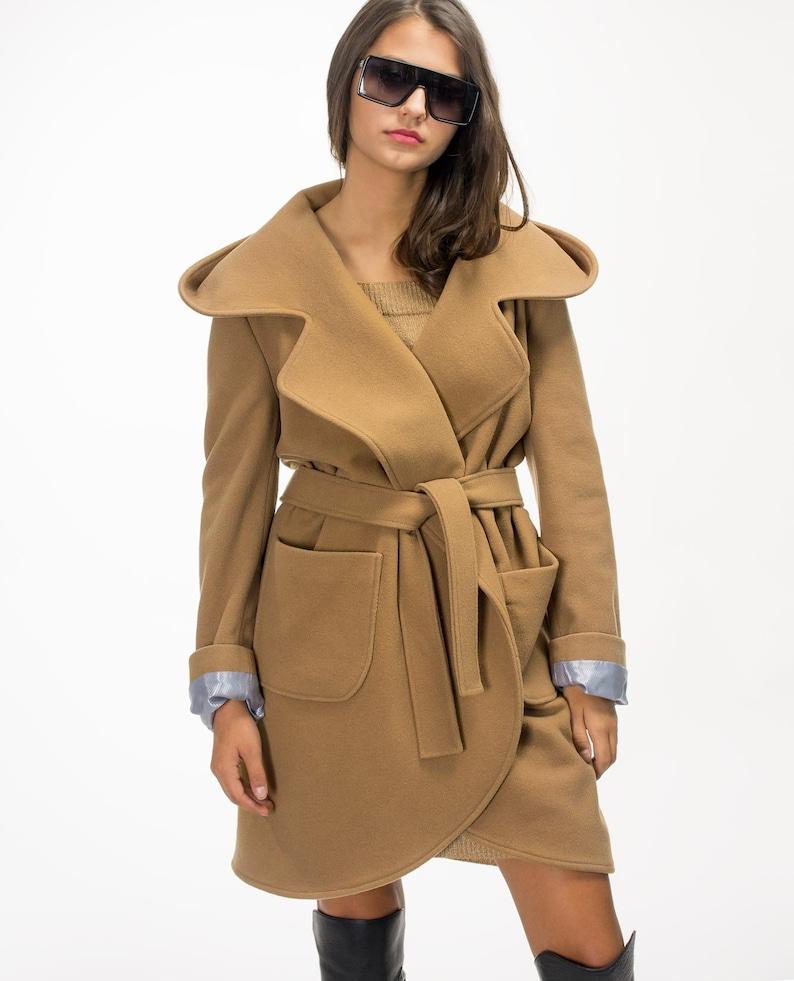 db1a18aac8d89 Wool coat/ Camel Jacket/ Camel coat/ Winter Coat/ Coat with hood/ Stylish  Jacket / Wrap Jacket/ Vivastella
