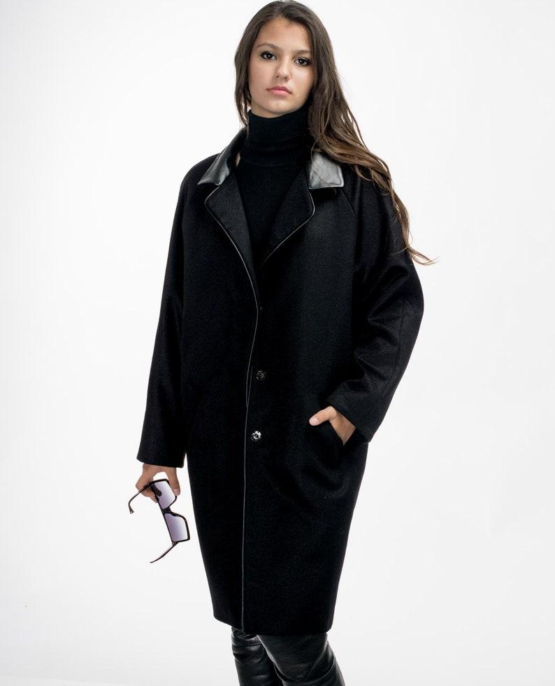 25e3d04f218b6 Black wool coat/ Jacket with a leather collar/ Еelegant coat/ Raglan sleeve/
