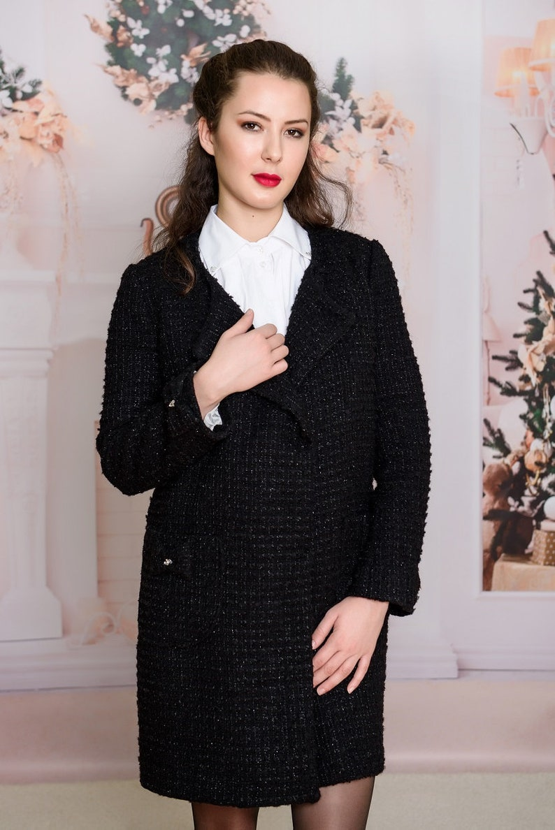 172a155aafa81 Black Coats Chanel/ Fashion Coco Blazer/ Blazer of Boucle /Elegant Jacket/  Vivastella