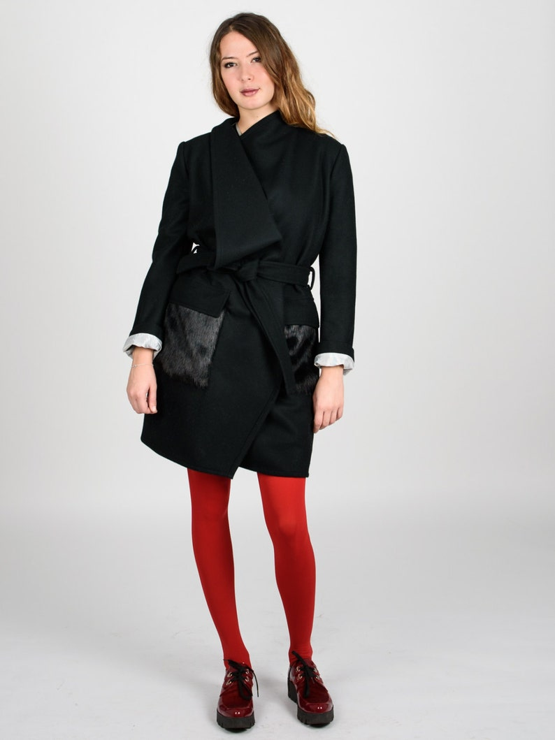 5d5d46fb15dae Coat-Eco/ Elegant Coat/ Black Elegant Coat/ Eco pockets/ Аsymmetrical  Jacket/ Wool Coat