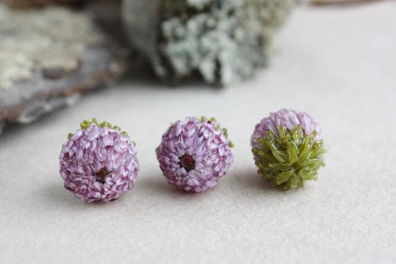 Trèfle au chalumeau perles, trèfle, fait à la main, perles Lampwork Floral, Lampwork pâle bourgeons violet, trèfle à quatre feuilles, bourgeon de perle en verre, fleurs roses,