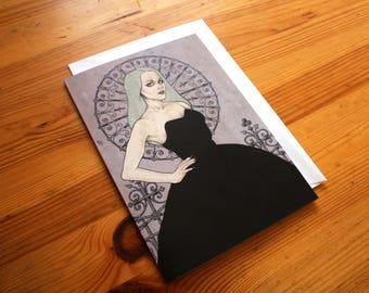 Fine Art Illustrated Blank Greeting Card - Lowbrow - Pop Surrealism - Pastel Goth Illustration