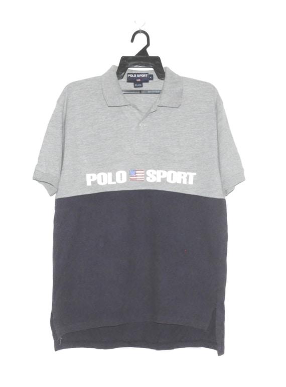 5a8c84f4ac3e4 Vintage 90's Polo By Ralph Lauren Polos Shirt Pattern Casual Tshirt  Collarneck Big Logo Short Sleeve Fashion Gray Blue Saiz Medium