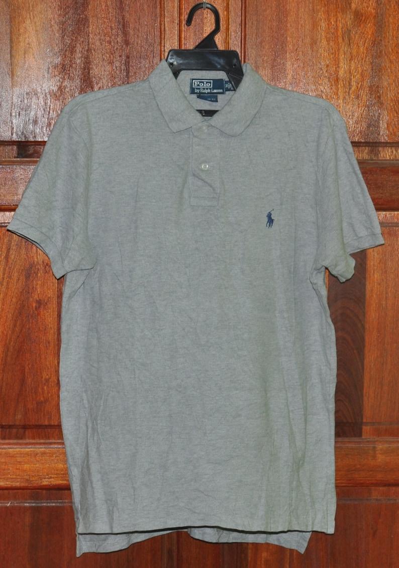 2f350c5e66eb6 Vintage 90's Polo By Ralph Lauren Polos Shirt Pattern Casual TShirt  Collarneck Small Logo Short Sleeve Fashion Gray Custom Fit Saiz Medium