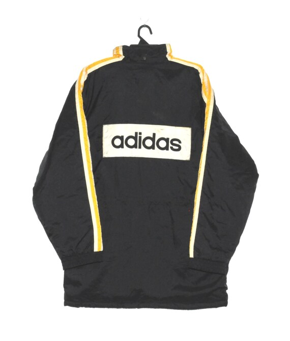 Vintage 90s Adidas Coach Three Stripes Windbreaker Jacket Big Logo Hip Hop Run Dmc Style Medium Saiz