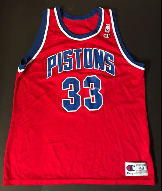 5447b71fc Vintage Champion Detroit Pistons Jersey Grant Hill 33 Hill