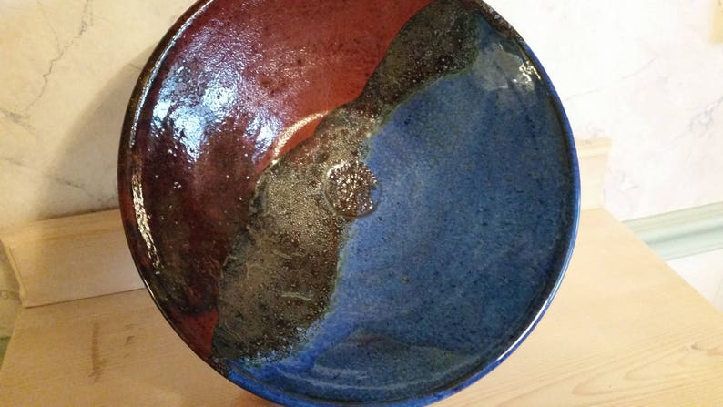rustic red and bronzybowl Pottery large blue