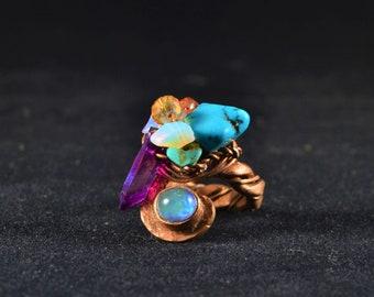 Turquoise, Amethyst, Moonstone Ring