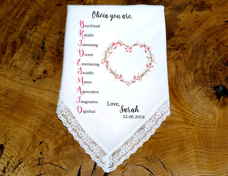 Bride to Flower Girl Bridesmaid Handkerchief Personalized Gift BM2002 Wedding Party Gifts Bridesmaid Gift Wedding Handkerchief