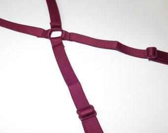 "1/2"" (480mm/12mm) Red wine Satin Plush Back Bra Strap Elastic Bra Making Bramaking Supplies Lingerie Sewing Latex Free Factory Dyed"