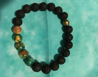 "Stretch bracelet 8mm ocean jasper/lava from my five stone meditative line 7"""
