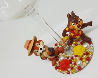 Personalised Disney Chip n' Dale Rescue Rangers Wine Glass