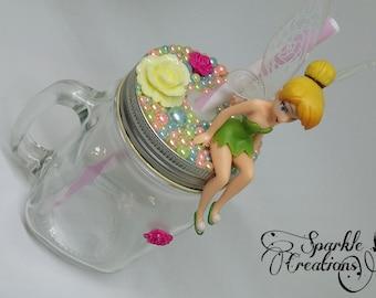 Personalised Disney Sitting Tinkerbell Fairy Mason Jar