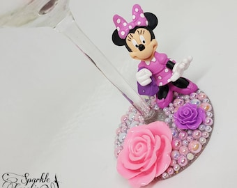 Personalised Disney Minnie Mouse with Handbag Wine Glass