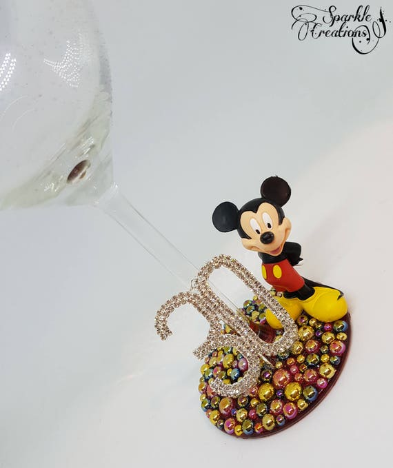 Personalised Disney Mickey Mouse Wine Glass 18th 21st 30th