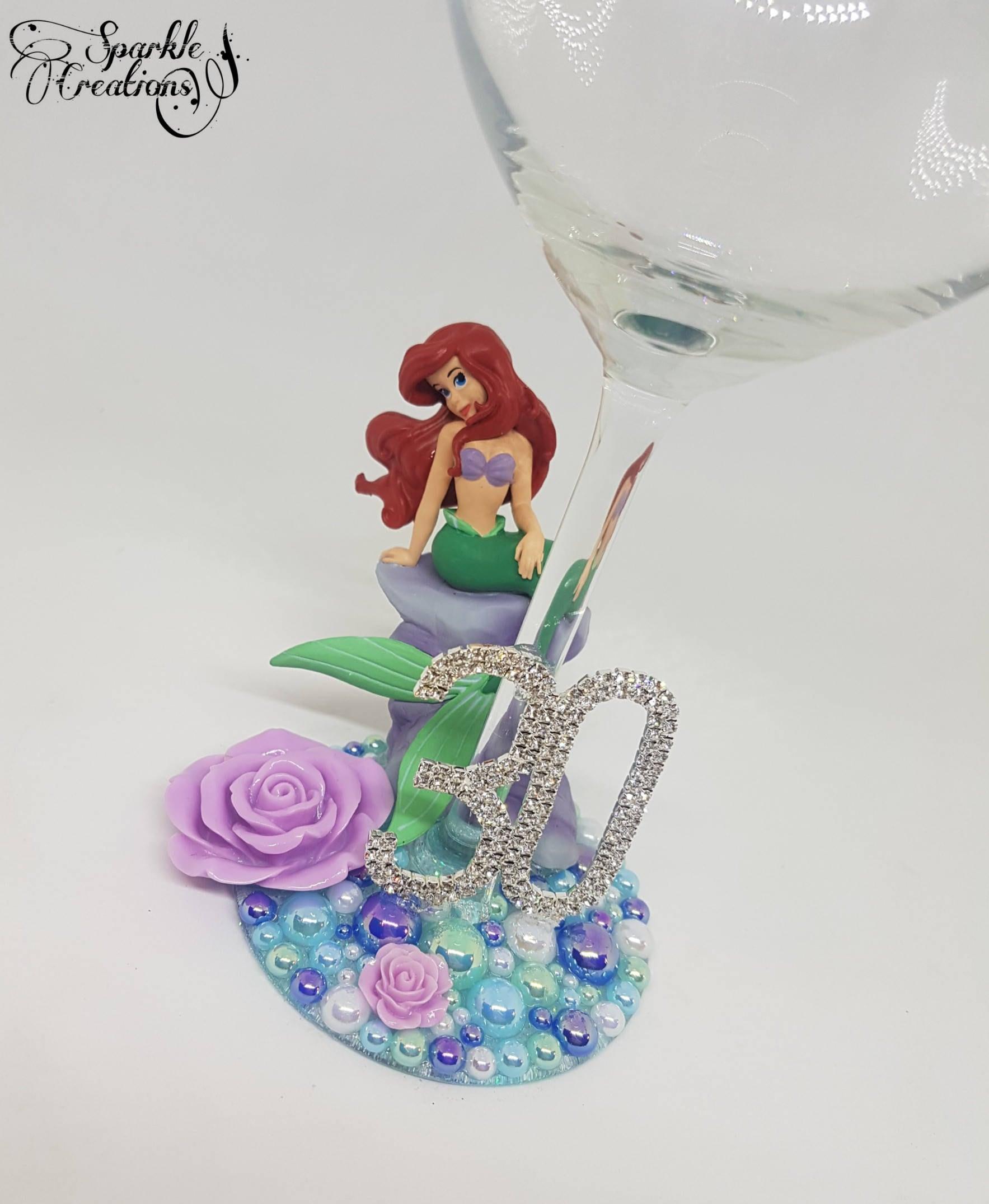 Personalised Disney Little Mermaid Wine Glass 18th 21st