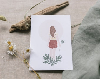Postcard girl with leaves, greeting card
